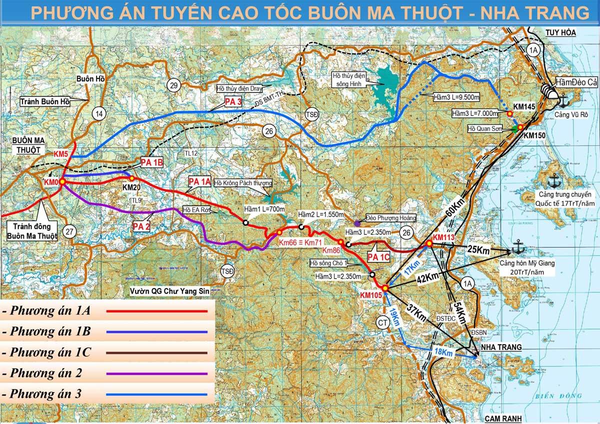 Phương án định hướng Tuyến cao tốc Buôn Ma Thuột Nha Trang - TUYẾN CAO TỐC BUÔN MA THUỘT - NHA TRANG